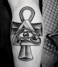 Small Egyptian Symbols Tattoos For Men Eye Of Ra And Cross