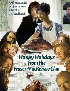 Happy Thanksgiving wishes to you all! Please enjoy this meme from Season One. I loved Mrs. :) Sorry no re-cap for Episode 310 which I loved! Hubby had surgery on Monday. Outlander Funny, Outlander Tv Series, Starz Series, Jaime Fraser, Diana Gabaldon Outlander Series, Great Love Stories, Book Tv, Series Movies, Sam Heughan