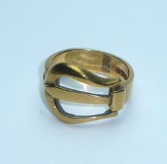 Gents 9 ct Gold vintage Buckle Ring 1975 by New2uCollectables