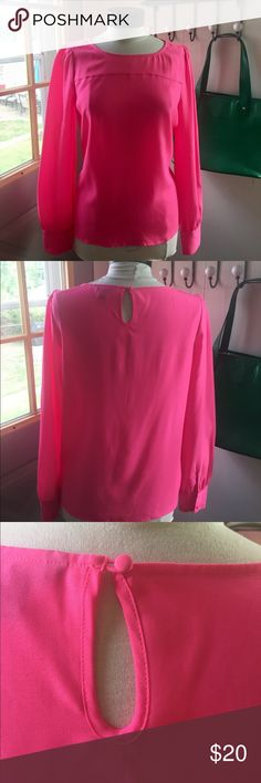 J Crew bright pink blouse J Crew pink blouse - size medium. Vibrant pink, excellent condition and the perfect pop of color for your neutral work pieces. J. Crew Tops Blouses
