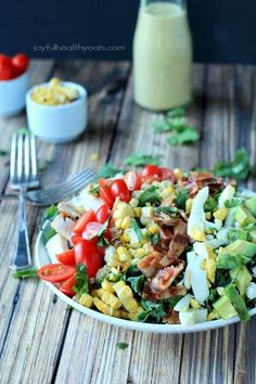 A Healthy tex-mex inspired Cobb Salad that is absolutely killer tossed with a Creamy Poblano Dressing, be prepared to become addicted to the flavors in here!