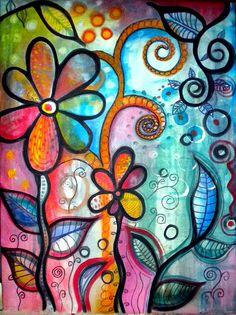 Blossoms Painting - Fine Art America Print by Robin Mead - makes me happy! Art Journal Pages, Art Journaling, Art Floral, Doodle Art, Art Altéré, Art Journal Inspiration, Whimsical Art, Oeuvre D'art, Altered Art
