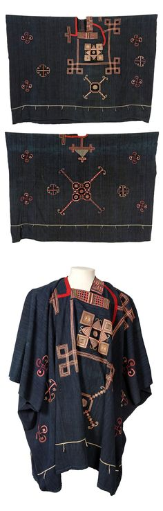 Africa | Dark blue robe with coloured embroidery from the Mandinka people | Cotton Textile Plant / Cotton Yarn Plant / Wool Textile Animal / Pigment; Embroidered / Woven / Stitched / Dyed | ca. 1846