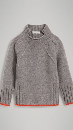 Ditch the slanted cable - but otherwise: interesting lines! Merino Wool Blend Turtleneck Sweater in Mid Grey Knitting Designs, Knitting Patterns, Knit Fashion, Sweater Weather, Pulls, Grey Sweater, Baby Knitting, Wool Blend, Pullover Sweaters
