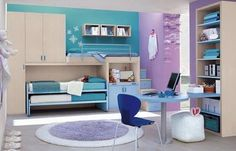 Amazing Purple and Blue Color Themes and Modern Bunk Beds in Kids Bedroom Design