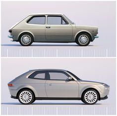 My first car! a tribute to pio manzu fiat 127 concept by david obendorfer Retro Cars, Vintage Cars, Supercars, Chevrolet Vega, Fiat 126, Fiat Cars, Fiat Abarth, Small Cars, Transportation Design