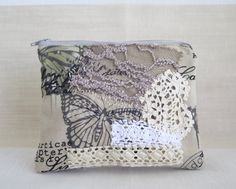 Appliquéd canvas purse, Textile art handmade small clutch, Romantic phone or change wallet, Gift for her by sewingfairydust on Etsy