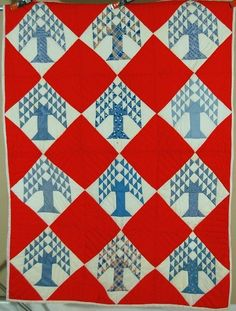 BEAUTIFUL Vintage 40's Red, White & Blue Tree of Life Antique Quilt!  eBay, french72
