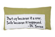 """One Kings Lane - All Tucked In - Seuss """"Smile"""" 14x24 Cotton Pillow, Green"""