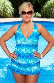 2047f3f5efb  89 Womens Plus Size Swimwear - Always For Me Chic Prints - Batik Side  Cinched One