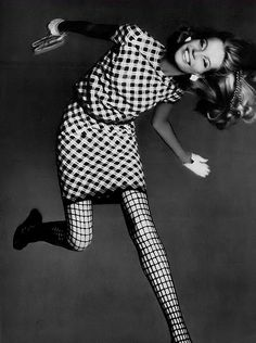 1967 | Veruschka is wearing a linen navy and white checked d… | Flickr