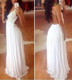 Lace Splicing Sleeveless Backless V-Neck Wide Hem Sexy Style White Dress For Women