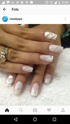 Unhas decoradas para noivas, unhas desenhadas, adesivos de unhas, unhas l. Wow Nails, French Manicure Nails, Pretty Nails, Swirl Nail Art, Pink Nail Art, Grey Nail Designs, Holiday Nail Designs, Silver Glitter Nails, Lace Nails