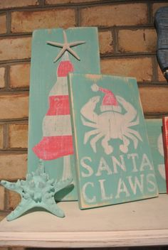 Hand Painted Distressed Wooden Sign - 10 x 7.5 (measurement may vary slightly). This listing is for Santa Claws sign only. Signs are made from