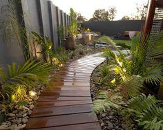 Wooden Path contemporary landscape by imag_ne design + construction Tropical Backyard Landscaping, Landscaping Melbourne, Modern Backyard, Tropical Garden, Landscaping Ideas, Backyard Ideas, Backyard Designs, Outdoor Landscaping, Walkway Designs