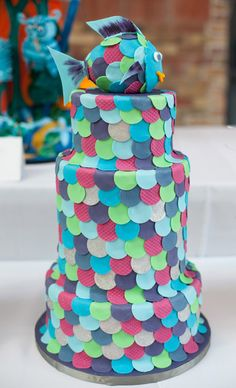 Rainbow fish: Remember this story? A gem that highlights the importance of being an individual - an awesome wedding cake for the unique and fun couple! Dare to be different!