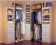 fotos de vestidores pequeños para aprovechar el espacio Corner Wardrobe, Bedroom Wardrobe, Wardrobe Closet, Room Closet, Master Closet, Walk In Closet, Fall Home Decor, Home Decor Bedroom, Bedroom Designs India