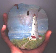 sand dollar painted by lorene morro Seashell Painting, Seashell Art, Seashell Crafts, Beach Crafts, Seashell Ornaments, Sand Crafts, Painting Art, Painted Pavers, Painted Rocks