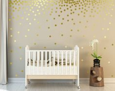 Lunares de oro metálicas de pared calcomanías de pared