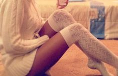 BROWSY Found: $10.99 Foot Traffic Ivory Cable Knit Thigh High Over The Knee Socks, $160.65 For Love  Lemons Wind Down Sweater In Blush. SHOP NOW at browsy/