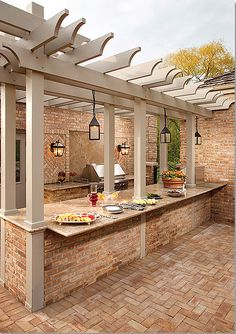 pergola over an outdoor kitchen bar for buffet style parties or for eating in @ Home Improvement Ideas. Would need to change the patio Home And Garden, Kitchen Bar, Outdoor Kitchen Design, Dream Backyard, Outdoor Living, Pergola Designs, New Homes, Outdoor Design, Outdoor Kitchen