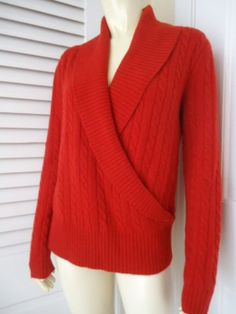 RALPH LAUREN Sz M Sweater 100% Cashmere Faux Wrap Deep V-Neck Pullover Soft HOT!