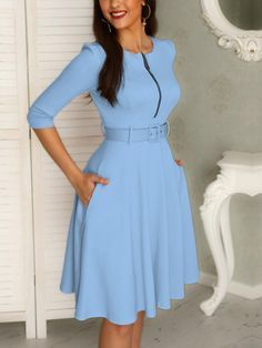Solid Zipper Up Belted Pleated Casual Dress Preppy Dresses, Cute Dresses, Casual Dresses, Classy Work Outfits, Classy Dress, Demin Dress, Official Dresses, Work Dresses For Women, Latest African Fashion Dresses