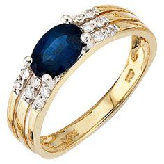 Damen Ring 585 Gold Gelbgold bicolor 1 Safir blau 12 Diamanten Goldring J36120