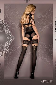 Shop for #lingerie : Black Gold Stockings Hold Ups Womens Lingerie Ballerina 418 UK STOCK + FREE SHIP by weeabootique.