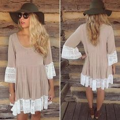 New Khaki color Lace Style Dress Neckline: O-Neck Sleeve: 3/4 Sleeve Material: Lace + Polyester Color: Khaki, Dresses