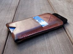 Handmade Leather Commuter Wallet iPhone 5 by KnifeandMallet #SFetsy