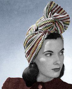 1940s Crochet Pattern Twist Turban Vintage Striped Head Scarf Wrap Digital Download PDF