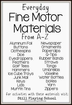 A list of fine motor