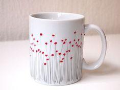 hand painted porcelain mug made of Limoges porcelain poppy pattern tea lover gift coffee set mug set limoge france french decor mug poppies - Porcelain Mugs, Ceramic Cups, Painted Porcelain, Pottery Painting, Ceramic Painting, Diy Becher, Bamboo Cups, Poppy Pattern, Hand Painted Mugs