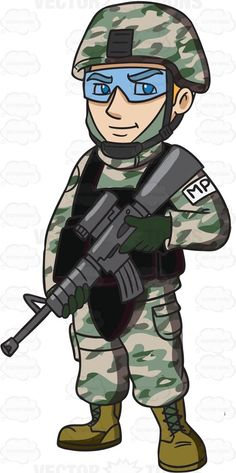 A US Army Military Police Officer Holding A Machine Gun #cartoon #clipart #vector #vectortoons #stockimage #stockart #art