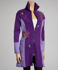 Purple Embroidered Zip-Up Hoodie | Daily deals for moms, babies and kids