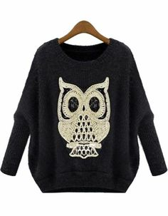 Black Long Sleeve Owl Pattern Mohair Sweater pictures