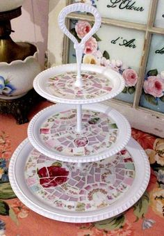 Pretty White Shabby Mosaic 3 Tier Tray Pastry Stand