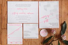Neon Pink Modern Calligraphy Wedding Invitations Ashley + Jeffs Modern Chic Neon Pink Wedding Invitations