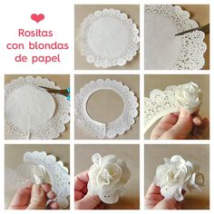 tutorial de flor hecha con blondas (Tutorial for roses made with paper doilies) Paper Doily Crafts, Doilies Crafts, Flower Crafts, Diy Paper, Paper Crafting, Paper Lace, Rose Crafts, Handmade Flowers, Diy Flowers