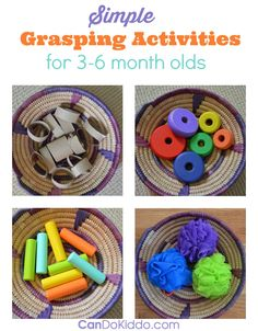 Looking for ways to play with your baby? Simple tips for baby play activities for emerging grasping skills. Promotes early fine motor, visual motor, sensory and cognitive skills. CanDo Kiddo