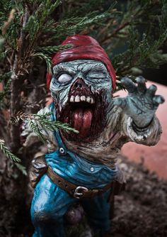 GnomeZ Zombie Gnome Rod Burton by TeptecStudios on Etsy, Gnome Village, Zombie Monster, Zombie Art, Love Garden, Zombie Apocalypse, Fall Halloween, Female Art, Halloween Decorations, Creepy