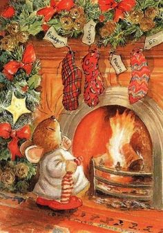 Celebrating Christmas all year long! Christmas Scenes, Noel Christmas, Vintage Christmas Cards, Christmas Pictures, Winter Christmas, Christmas Crafts, Xmas, Mouse Illustration, Christmas Illustration