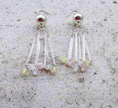 statement chandelier earrings, long dangle earrings, with Murano glass bugle beads and pastel tones crystals, boho bridal earrings