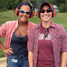 Safety first on the Teaching Farm! Kayla and Danielle are modeling our new ear and eye protection. Looking good! #TryonRoadTeachingFarm