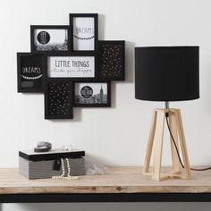 Lampe à poser en bois noire DUDLEY   Maisons du Monde