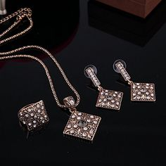 Amazon.com: AMADER Necklace Earring Ring Fashion Jewelry Sets Boxed Gold Plated 3122: Jewelry  Follow The Description link: http://amzn.to/2tBvmUV