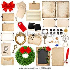 scrapbooking elements for christmas holidays greetings. old book pages, paper sheets, cards, corner and photo frames isolated on white background - stock photo