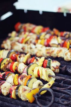 """Honey chicken kabobs with veggies. You can marinate overnight and make these kabobs for an outdoor barbecue as a tasty alternative to the usual barbecue fare! Fresh mushrooms and cherry tomatoes can also be used. (This can also be done in the broiler.)"""