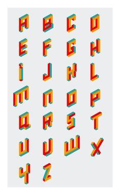 Alphabet Logo Letters on Behance 3d Alphabet, Alphabet Design, Graphic Design Letters, Graphic Design Typography, Lettering Design, Graffiti Lettering, Typography Fonts, Pixel Font, Restaurant Logo